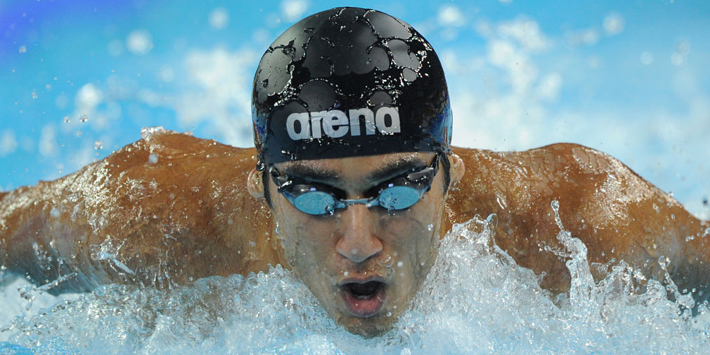 Virdhawal Khade of India competes in the men's 4x100m medley relay heats in the swimming event of the 16th Asian Games in Guangzhou on November 18, 2010.   AFP PHOTO / PETER PARKS / AFP PHOTO / PETER PARKS