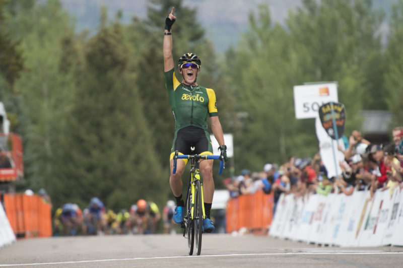 Gage Hecht wins Stage 1 of the 2018 Colorado Classic with a late attack out of the break. Photo: Casey B. Gibson | www.cbgphoto.com