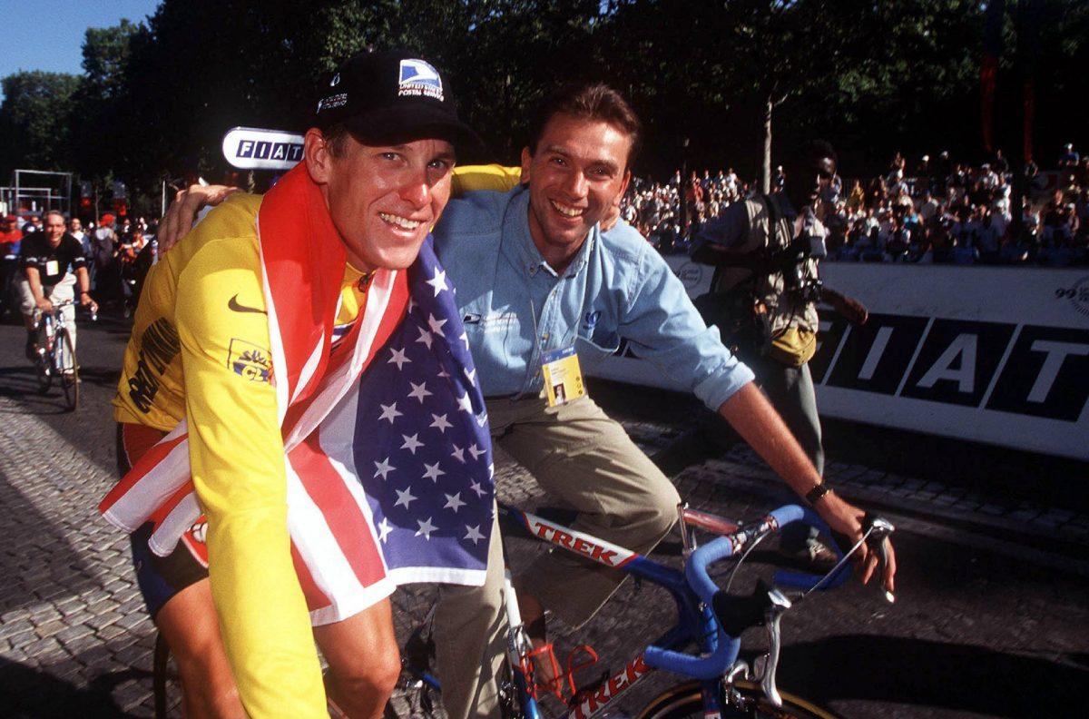 Lance Armstrong (USA) avec  Johan Bruyneel (bel) - US Postal - 25.07.1999 - Tour de France 2002 - Cyclisme Velo